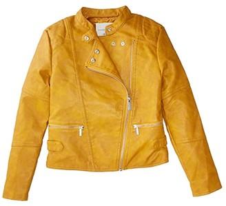 Habitual Luna Faux Leather Biker Jacket (Big Kids) (Gold) Girl's Jacket