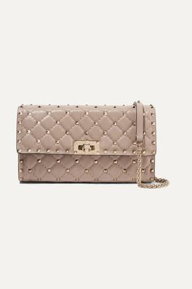 Valentino Garavani The Rockstud Spike Quilted Leather Shoulder Bag - Baby pink