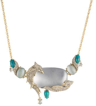 Alexis Bittar Crystal Encrusted Lovebirds Statement Necklace