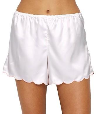 Ginia Embriodered Trim Satin Pajama Shorts