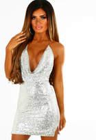 Pink Boutique Puttin' On The Glitz Silver Sequin Backless Halterneck Mini Dress