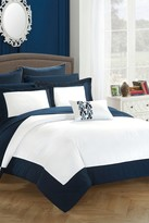 Bathilda Hotel Collection Modern Two-Tone Reversible 10-Piece Bed In a Bag Comforter Set - Navy
