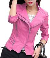 BKXRH Women PU Leather Jacket Women Leather Jackets Motorcycle Coat (XL, )