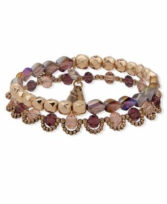 lonna & lilly Beaded Stretch Bracelet Gold and Burgundy Set of 2