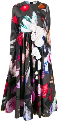 Prada flared floral-print dress