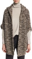 Brunello Cucinelli Paillette Ribbed Hooded Poncho, Moss