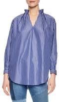 Sandro Bleu Lace Stripe Cotton Blouse