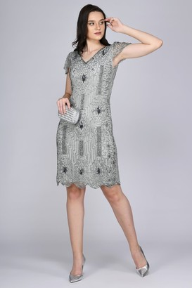 Gatsbylady London Downton Abbey Flapper Dress in Silver