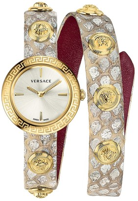 Versace Medusa Stud Icon IP Gold Stainless Steel Leather-Strap Wrap Watch