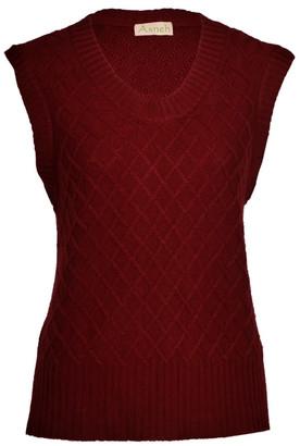 Asneh Diamond Pattern Silk Cashmere Sleeveless Sweater - Cabernet