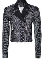 Select Fashion Fashion Womens Black Aztec Lace Biker Jacket - size 10