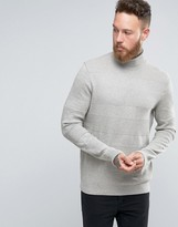 Asos Roll Neck Jumper With Textured Stripes
