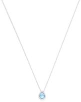 Meira T 14K White Gold, Blue Topaz & 0.09 Total Ct. Diamond Teardrop Pendant Necklace