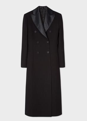 Paul Smith Women's Black Double-Breasted Wool Tuxedo Opera Coat With Satin Lapel