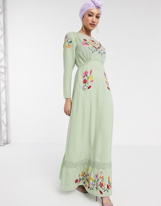 Asos Design DESIGN embroidered maxi tea dress with long sleeves in sage green