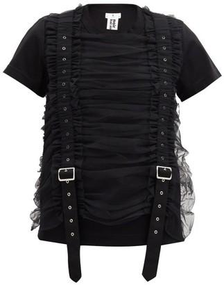 Noir Kei Ninomiya Ruched-tulle Strapped Cotton T-shirt - Black