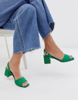 Lost Ink mid heeled sandal in green snake