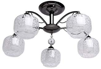 clear Modern Compact Ceiling Light with 5 Nickelfarbiges Metal Floral Pom Pom Crystal Height 30 cm Diameter 60 cm Dazzling Direct Light for Hall or Bedroom. Requires 5 x 60 W E14