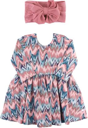 RuffleButts Girl's Watercolor Twirl Printed Dress w/ Bow Headband, Size 0-4T