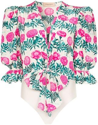 Adriana Degreas Floral-Print Silk Bodysuit