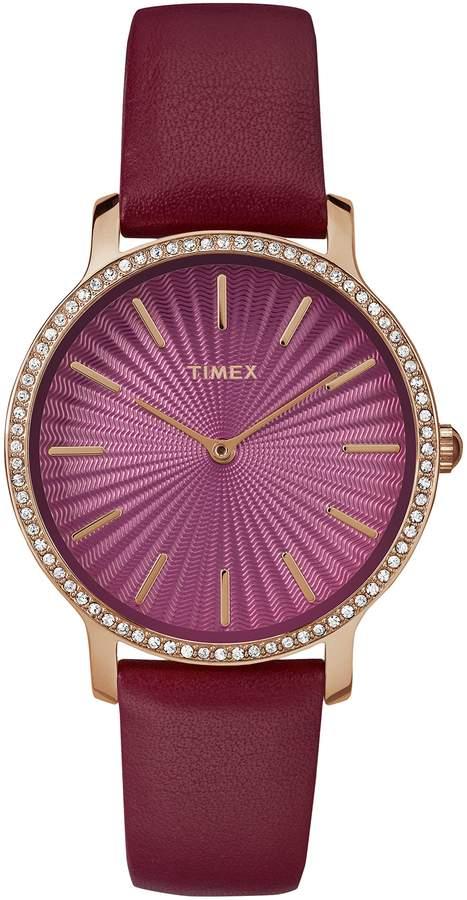 Timex Women's TW2R51100 Metropolitan Starlight Leather Strap Watch