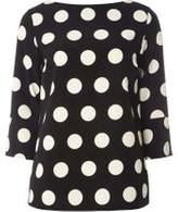 Dorothy Perkins Womens **Tall Monochrome Spotted T-Shirt- Black