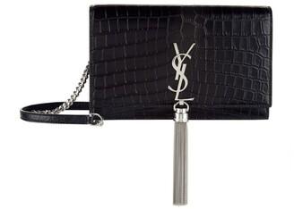 Saint Laurent Small Kate Tassel Croc-Embossed Shoulder Bag