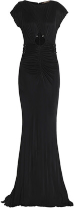 Roberto Cavalli Embellished Cutout Ruched Stretch-jersey Gown