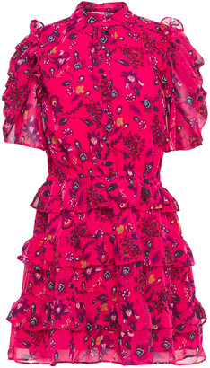 Walter Baker Tiered Floral-print Georgette Mini Dress