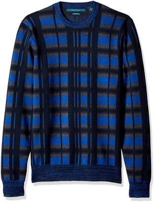 Perry Ellis Men's Multicolor Plaid Crewneck Sweater