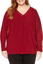 Liz Claiborne Long Sleeve V Neck Woven Blouse-Plus