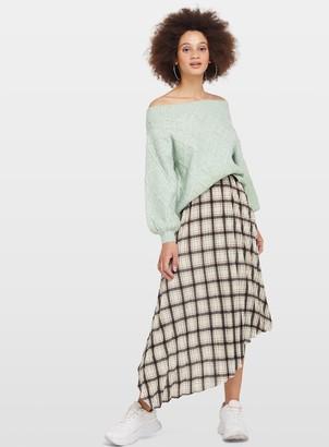 Miss Selfridge Neutral Check Pleated Skirt