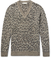 Marc Jacobs Lenny Leopard Jacquard-Knit Linen, Wool and Cashmere-Blend Sweater