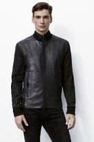 J Brand Sabik Leather & Nylon Combo Bomber in Navy Black