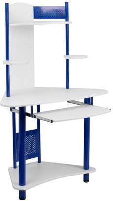 Camilla And Marc Flash Furniture Corner Computer Desk with Hutch, Metal, White Laminate Top/Blue Frame, 109.22 x 69.849999999999994 x 13.97 cm