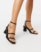 Asos Design DESIGN Herbie mid-heeled sandals with chain in black