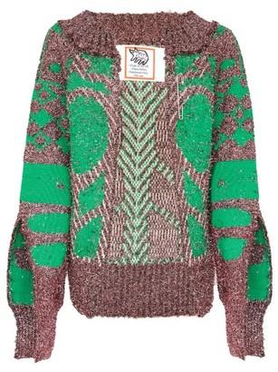 Matty Bovan - Slit-sleeve Metallic Deadstock Sweater - Pink Multi