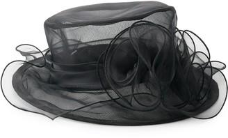 Scala Women's Organza Small Brim Floral Trim Hat