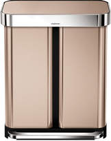 Simplehuman Dual Compartment Pedal Bin with Liner Pocket - 58L - Rose Gold