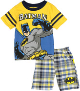 Children's Apparel Network Batman Yellow Tee & Plaid Shorts - Toddler & Boys