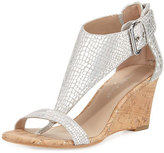 Donald J Pliner June T-Strap Wedge Sandal, Silver