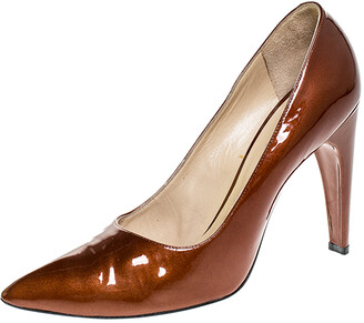 Louis Vuitton Bronze Patent Leather Pointed Toe Pumps Size 40.5