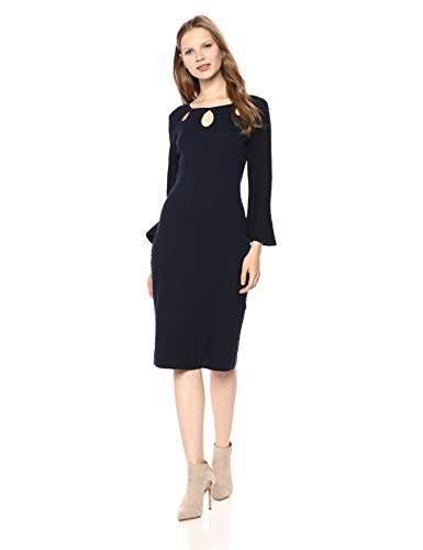 Gabby Skye Women's Long Bell Sleeve Round Neck Midi Sweater Sheath Dress