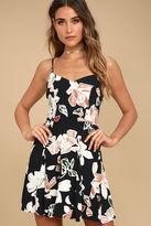 LuLu*s Permission to Daydream Black Floral Print Skater Dress