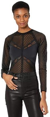 Thistle & Spire Chelsea Cheveron Bodysuit (Black) Women's Jumpsuit & Rompers One Piece