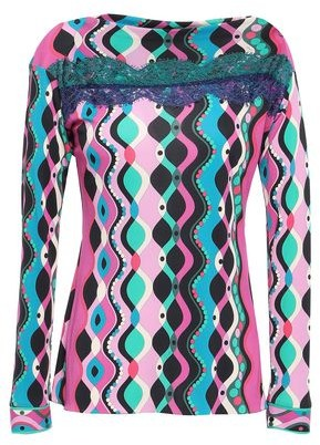 Emilio Pucci Lace-trimmed Printed Jersey Top