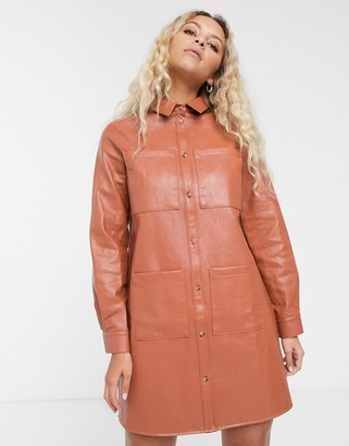 ASOS DESIGN oversized leather look shirt dress in rust