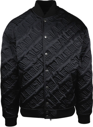 Balenciaga Satin Bomber With All Over Quilted Logo