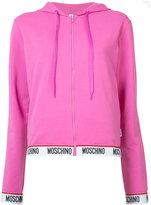 Moschino logo trim hoodie - women - Cotton/Spandex/Elastane - XS