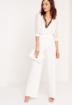Missguided Pin Tuck Wide Leg Pants White